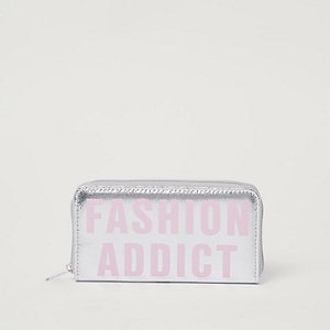 Girls silver metallic 'fashion addict' purse