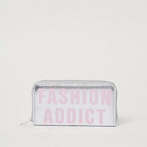 Zilverkleurig metallic portemonnee met 'fashion addict'-print voor meisjes