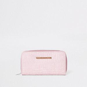Roze portemonnee met rits rondom en slangenprint voor meisjes