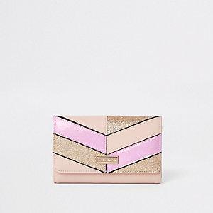 Roségoudkleurige portemonnee met glitter voor meisjes