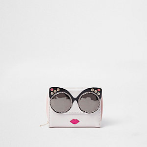 Girls pink metallic glasses purse