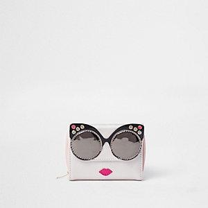 Porte-monnaie rose métallisé motif lunettes