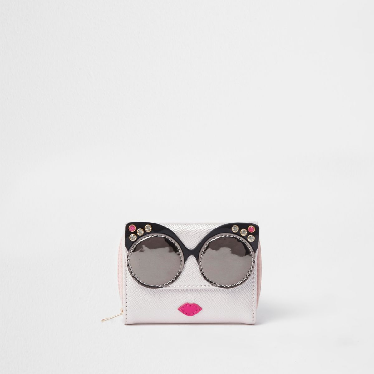Girls pink metallic glasses purse