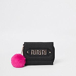 Zwarte portemonnee met pompon voor meisjes