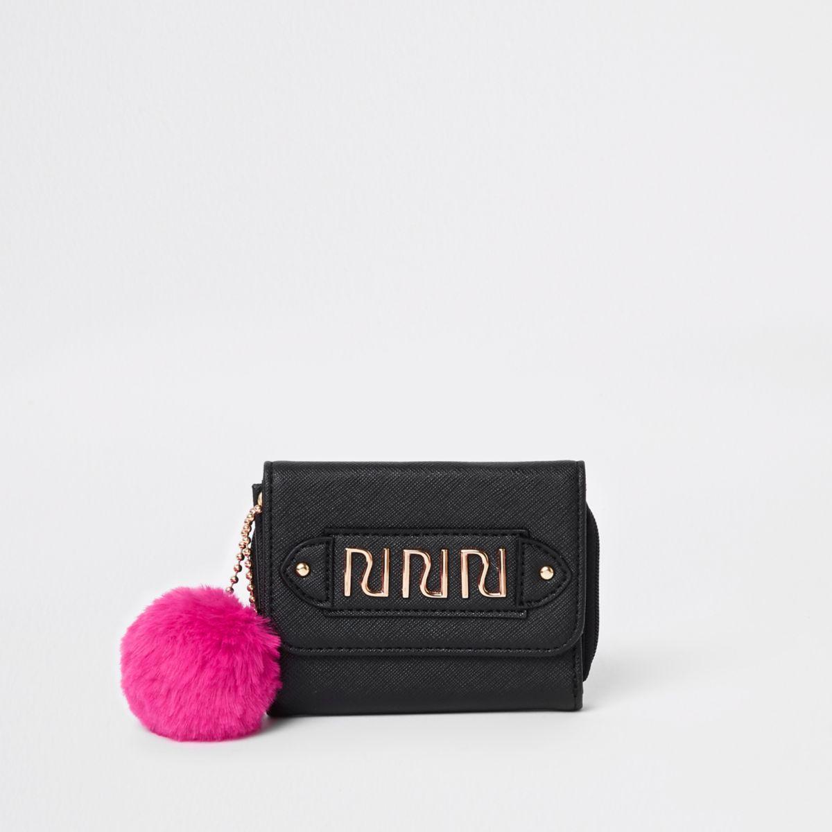 Girls black pom pom trifold purse