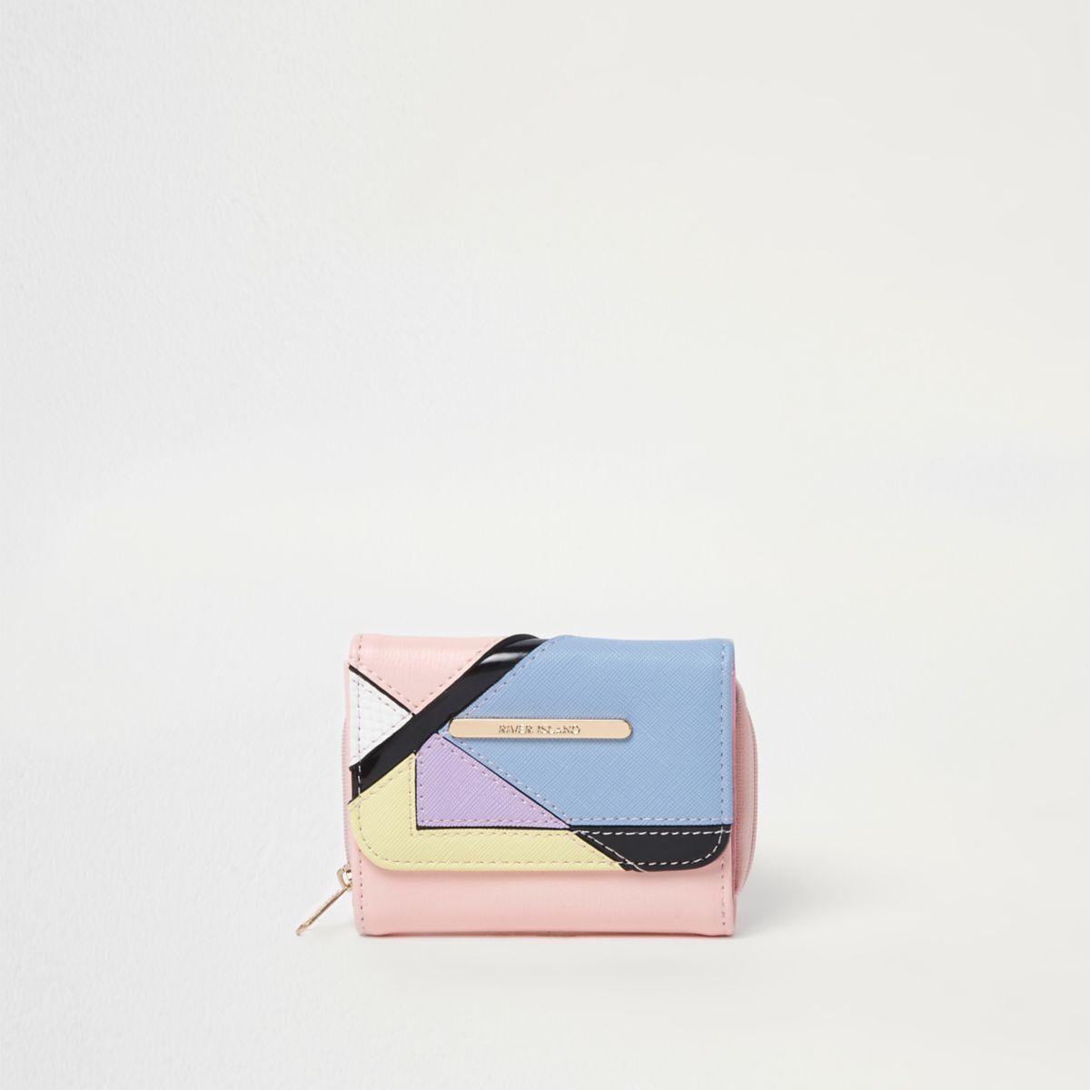 Girls pink colour block small purse