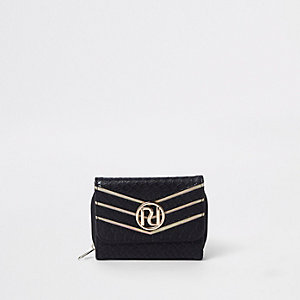 Girls black croc embossed RI mini purse