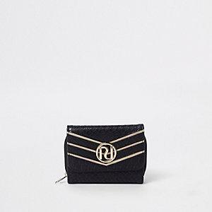 Mini porte-monnaie noir effet croco avec logo RI en relief fille