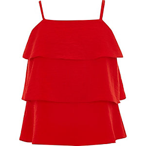 Girls red tiered frill cami top