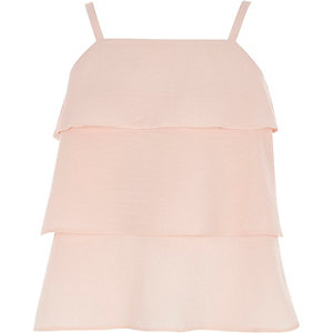 Girls light pink tiered frill cami top