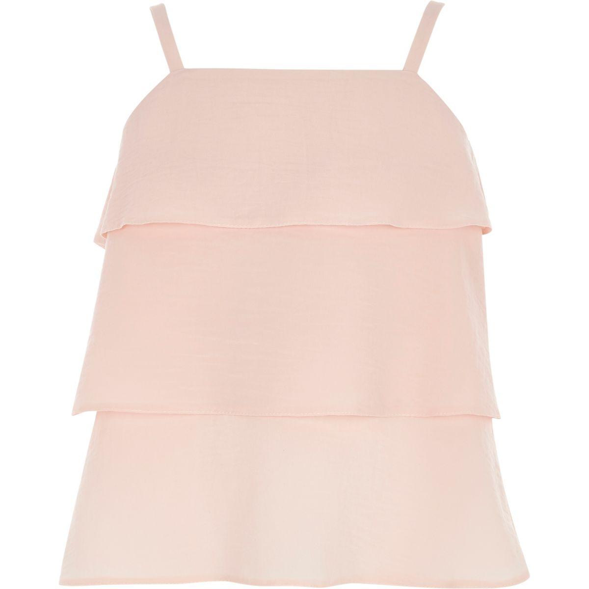 Caraco rose clair à volants étagés pour fille