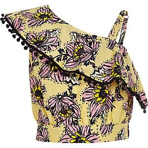 Gele gebloemde crop top met één schouder voor meisjes