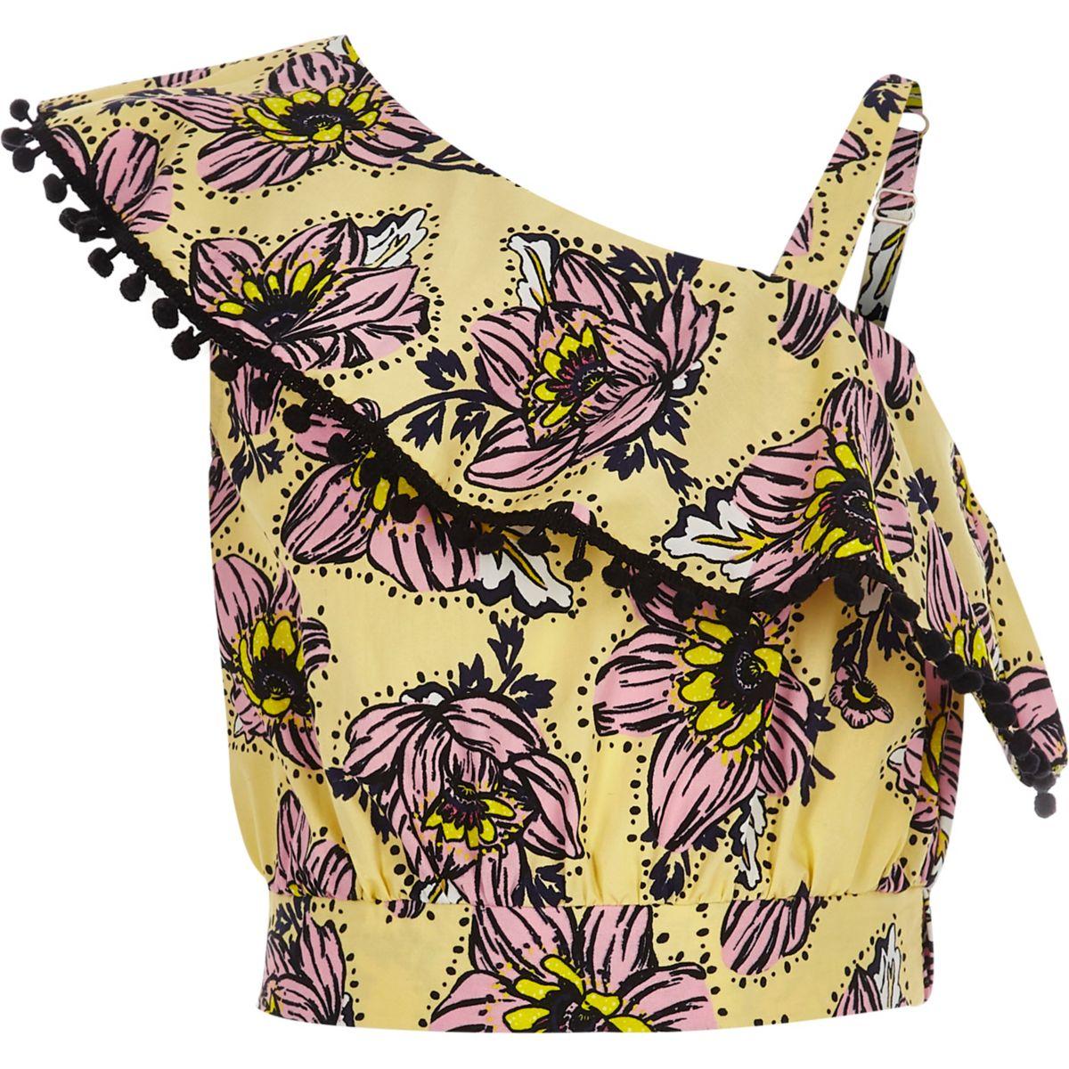 Gelbes geblümtes Crop Top im One-Shoulder-Design