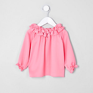 Mini girls pink ruffle bardot top