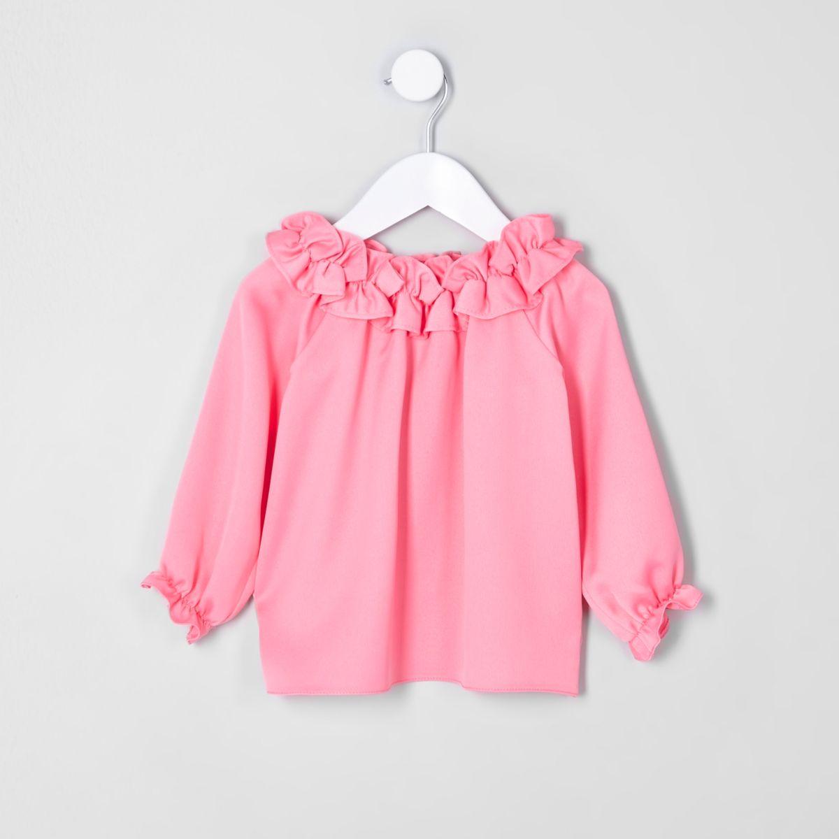 Top Bardot rose à volants mini fille