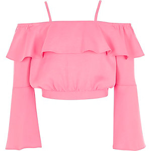 Girls bright pink bardot satin crop top