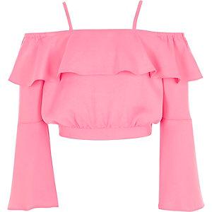 Girls bright pink bardot satin crop top