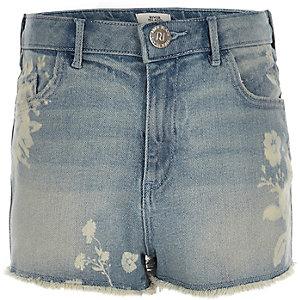 Annie - Denim short met bloemenprint en hoge taille voor meisjes