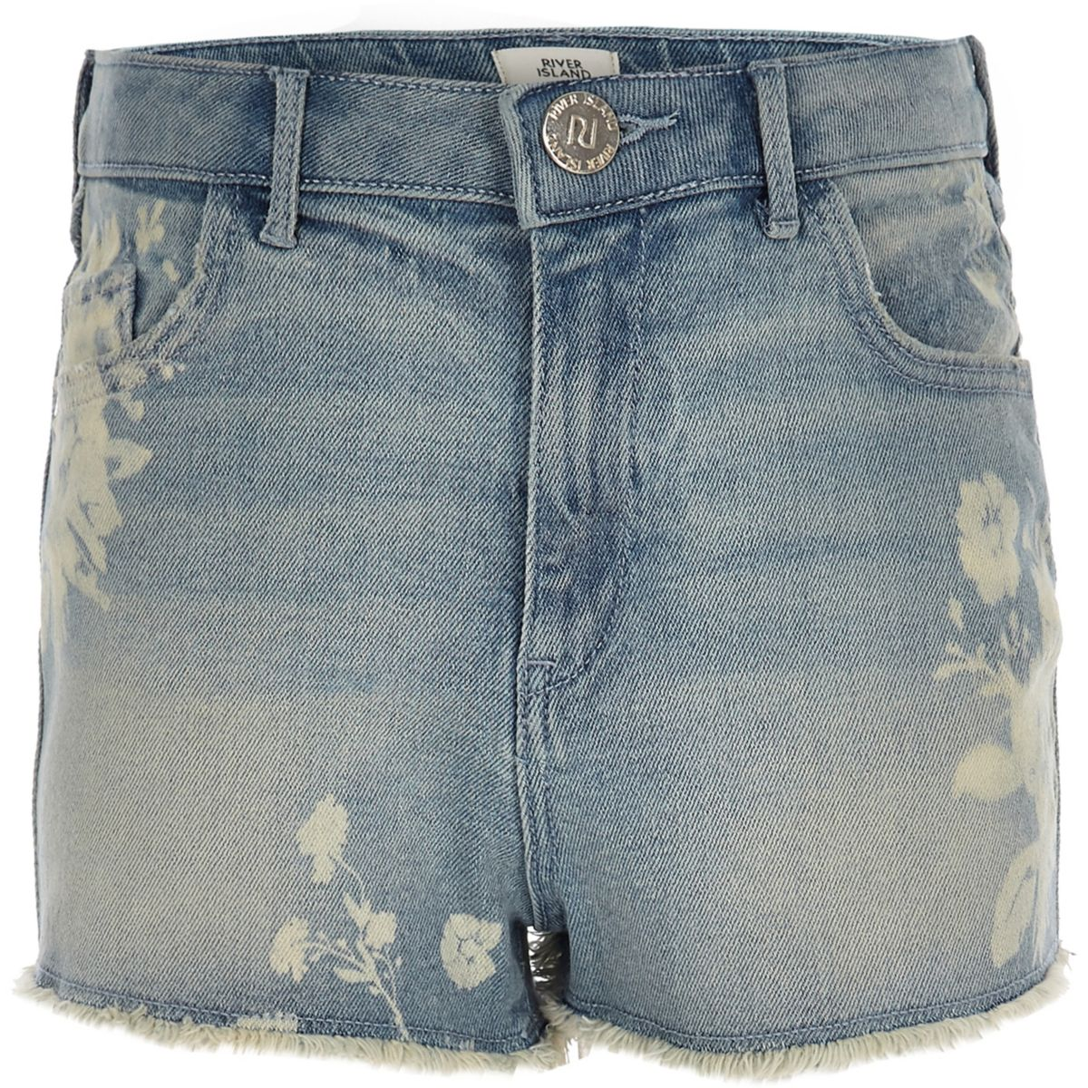 Girls floral high waisted Annie denim shorts