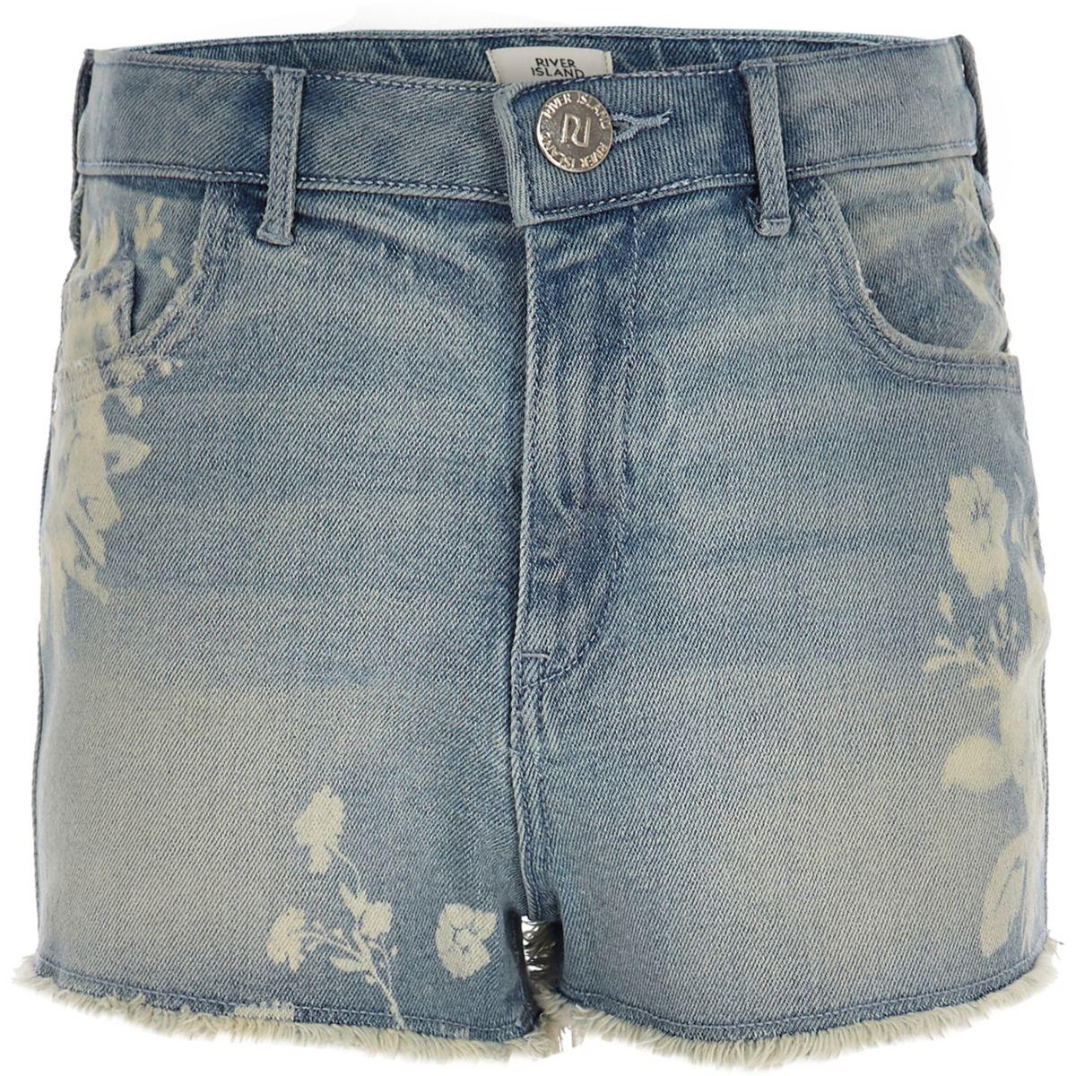 Girls floral high waisted Annie denim shorts