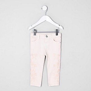 Mini girls pink Amelie embroidered skinny jea