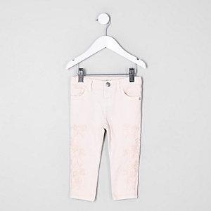 Mini - Amelie - Roze geborduurde skinny jeans voor meisjes