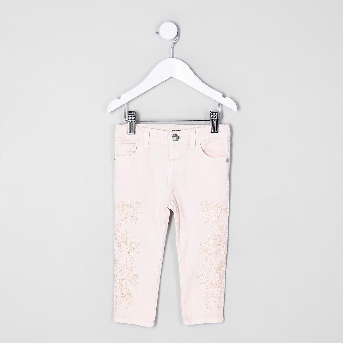 Mini girls pink Amelie embroidered skinny jea