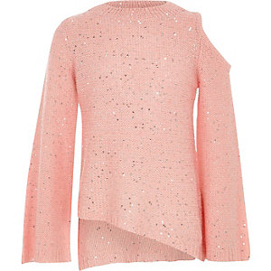 Girls pink sequin cold shoulder sweater