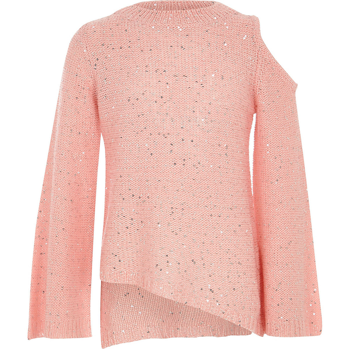 Girls pink sequin cold shoulder sweater