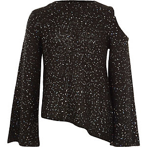 Girls black sequin cold shoulder jumper