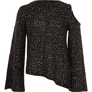 Zwarte schouderloze pullover met pailletten voor meisjes