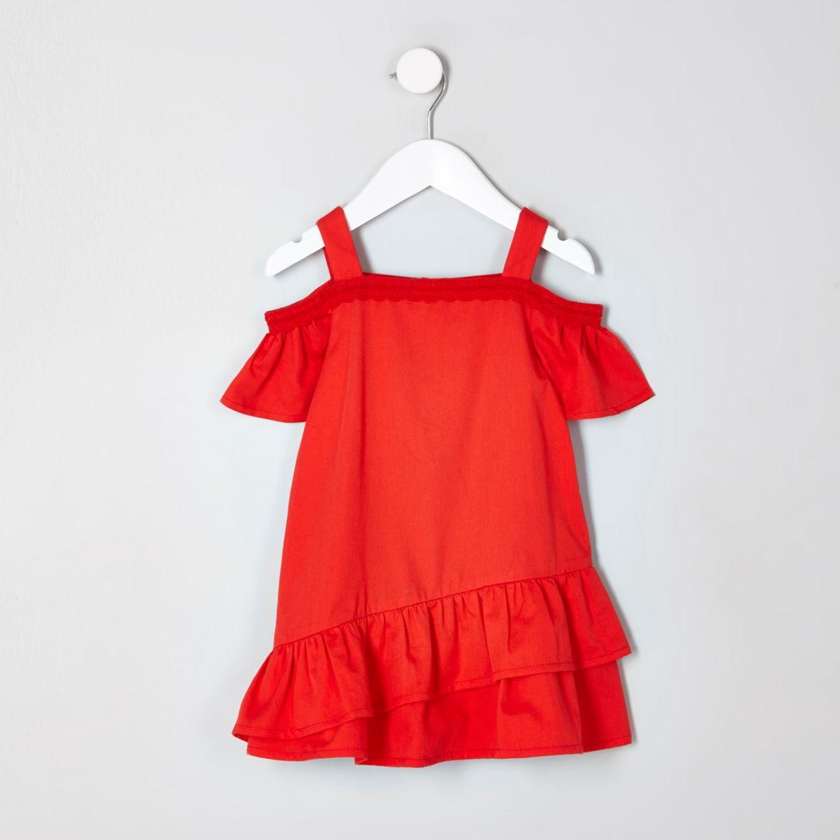 Mini girls red cold shoulder trapeze dress