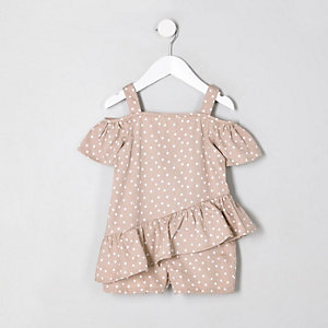 Mini girls beige spot cold shoulder romper