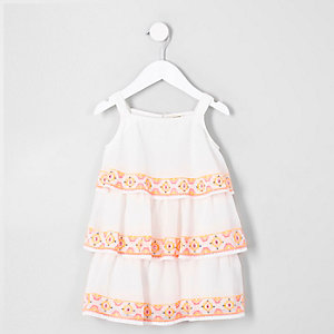 Mini girls white tiered sequin trapeze dress