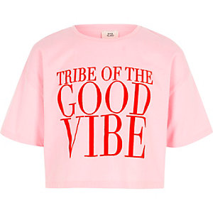 Girls pink 'good vibe' print cropped T-shirt
