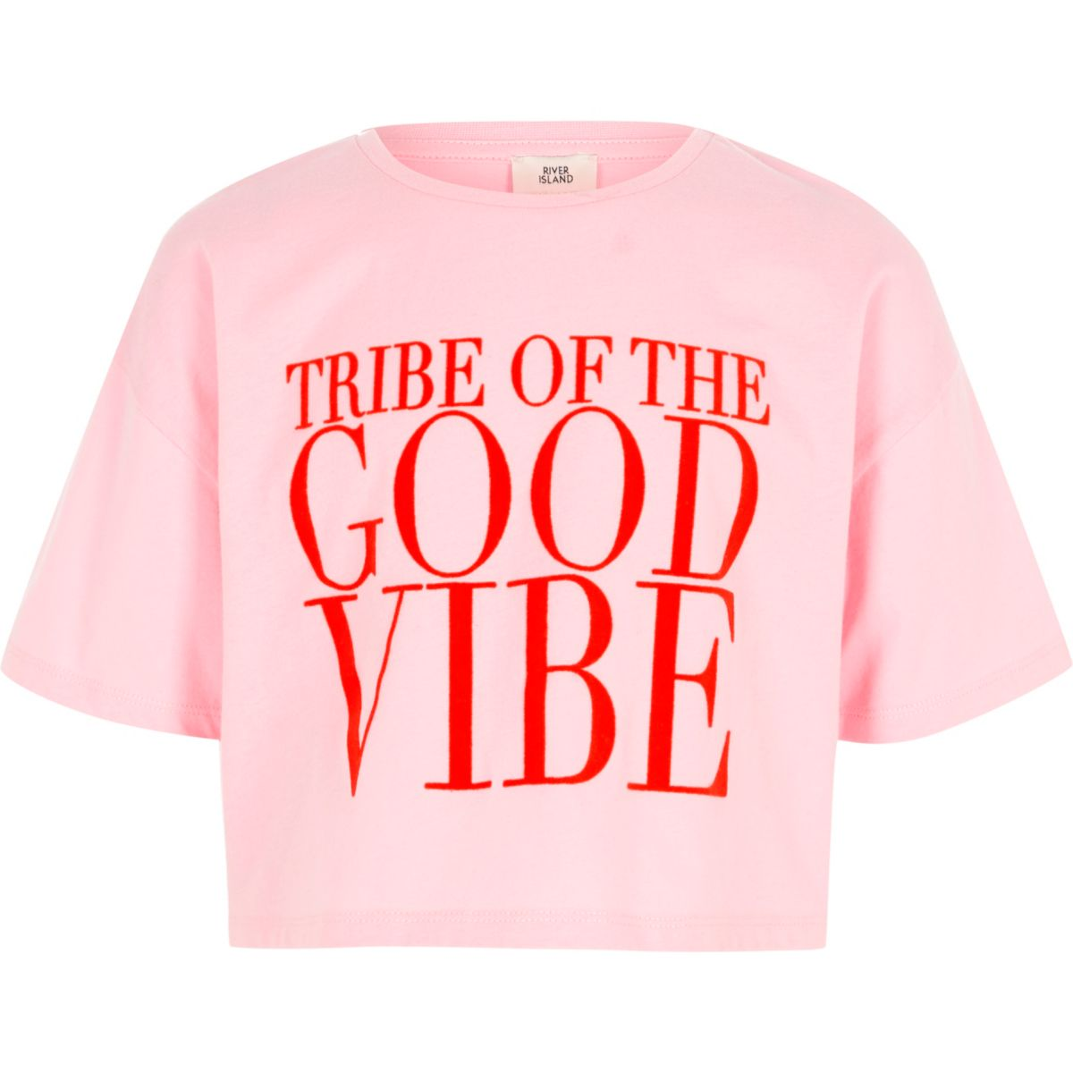 Girls pink 'good vibe' print cropped T-shirt