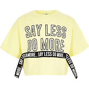 Girls yellow 'say less' tape cropped T-shirt