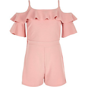 Girls pink cold shoulder ruffle playsuit