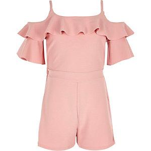Girls pink cold shoulder ruffle romper