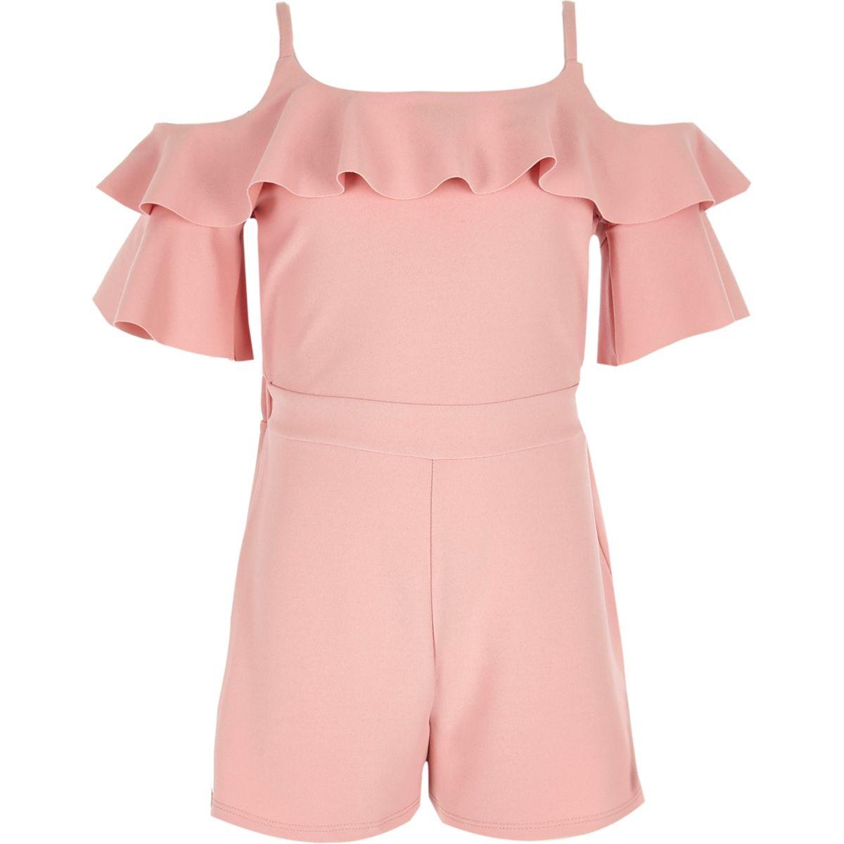 Pinker Overall mit Schulterausschnitten