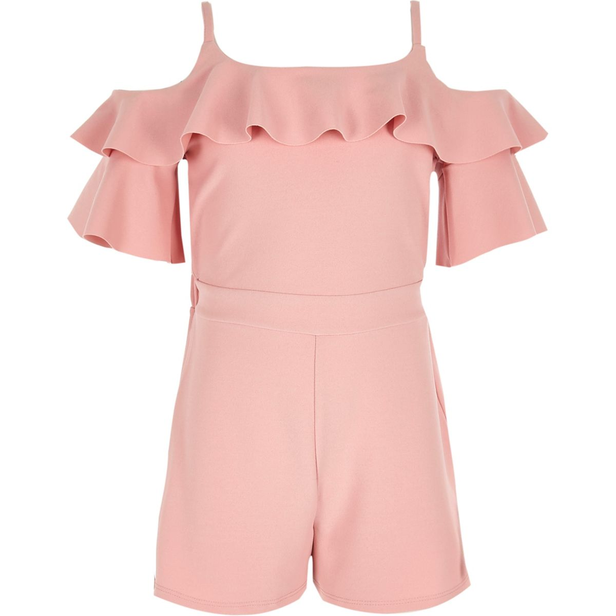 Girls pink cold shoulder ruffle romper