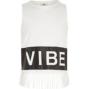 Girls white 'vibe' print fringe hem tank