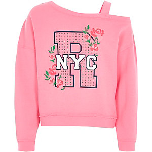 Girls pink 'NYC' diamante one shoulder sweats