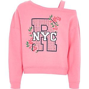 Roze sweater met blote schouder, 'NYC'-print en diamantje voor meisjes