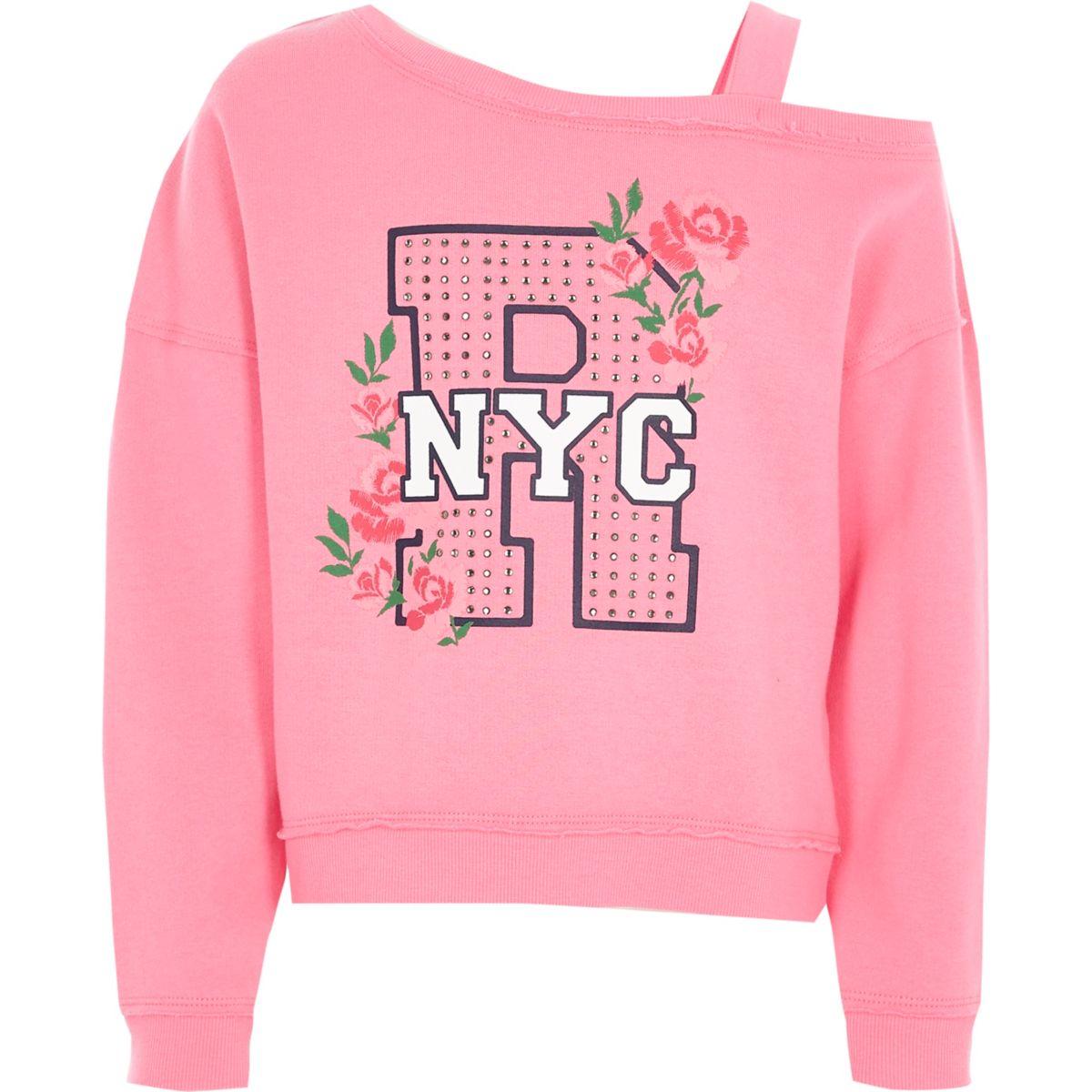 Girls pink 'NYC' diamante one shoulder sweats
