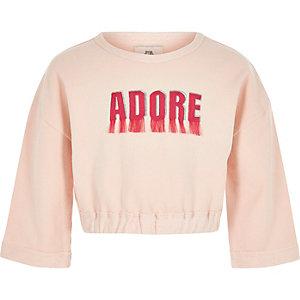 Sweat «adore» rose à franges pour fille