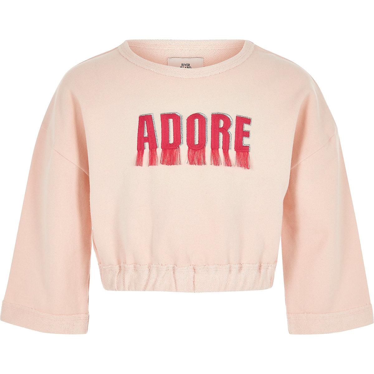 Girls pink 'adore' fringe sweatshirt