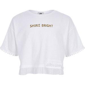 Wit T-shirt met 'shine bright'-print voor meisjes