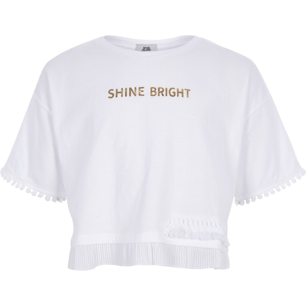 Girls white 'shine bright' T-shirt