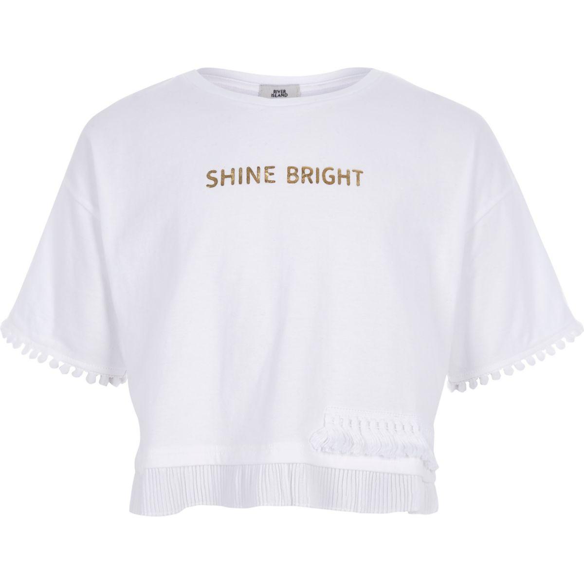 "Weißes T-Shirt ""Shine bright"""